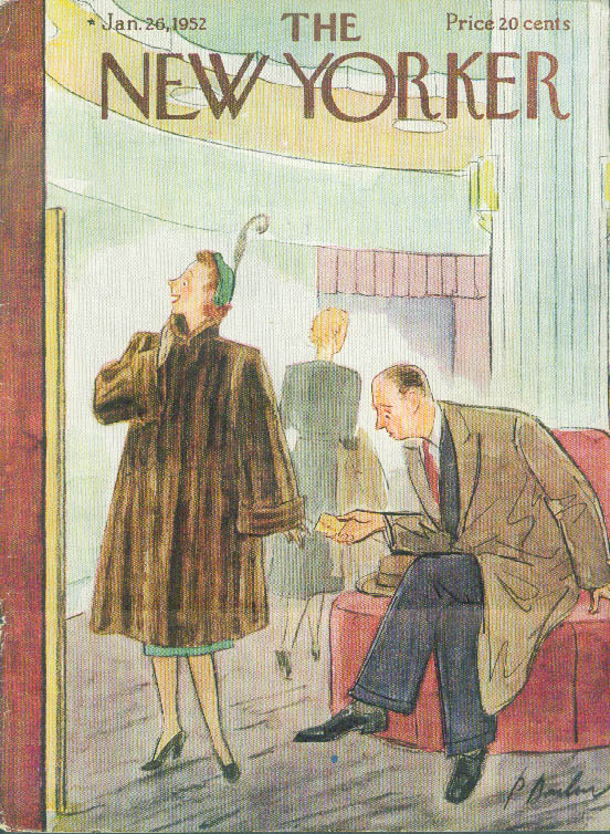 New Yorker cover Perry Barlow mink coat sticker shock 1/26 1952