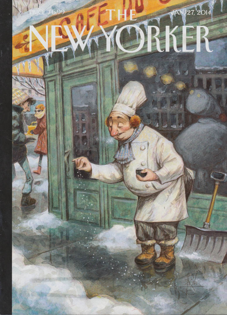 New Yorker cover 1/27 2014 De Seve chef adds pinch of salt to icy sidewalk