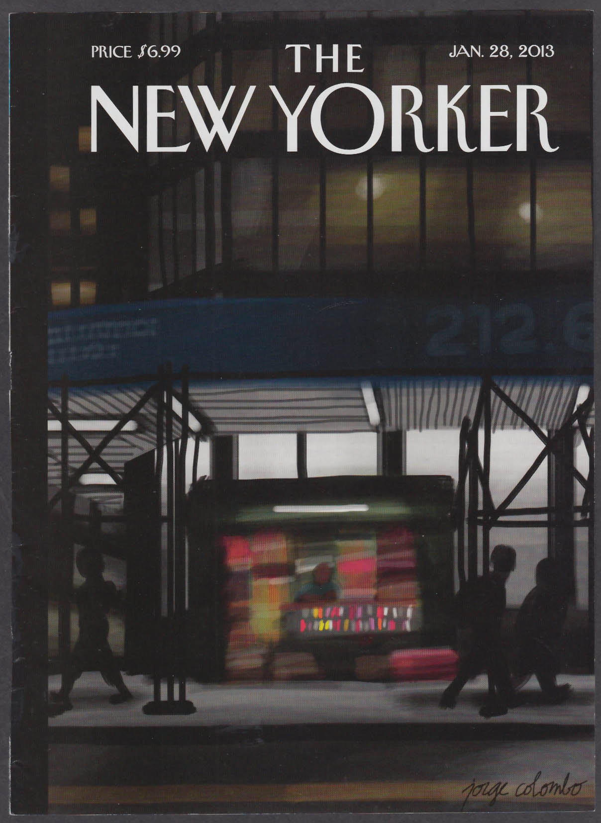 New Yorker cover 1/28 2013 Colombo: nighttime newsstand under construction eave