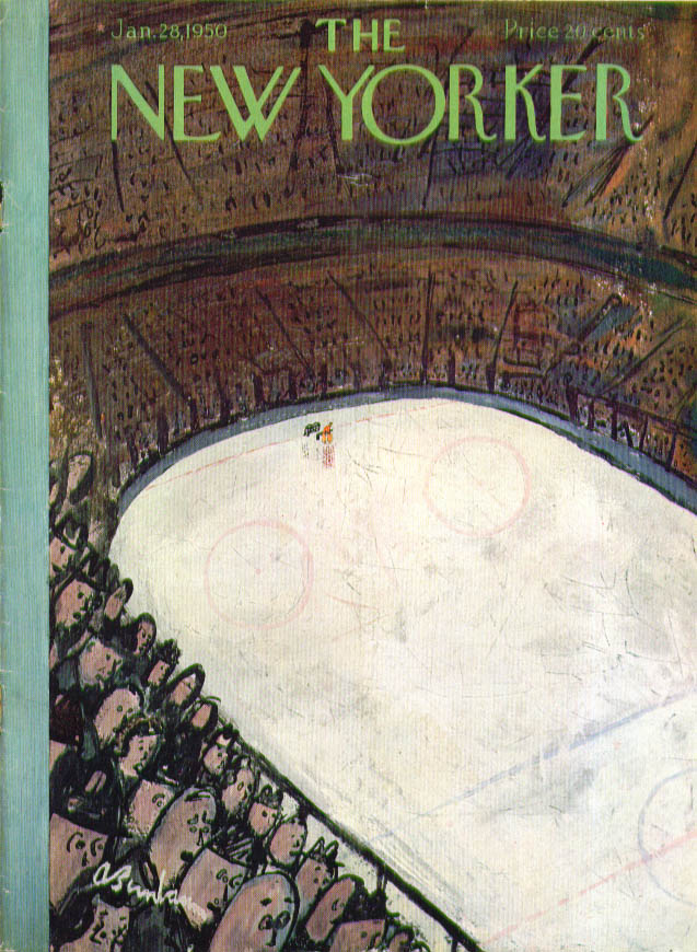 New Yorker cover Birnbaum lone goalie as hockey crowd eyes action 1/28 1950