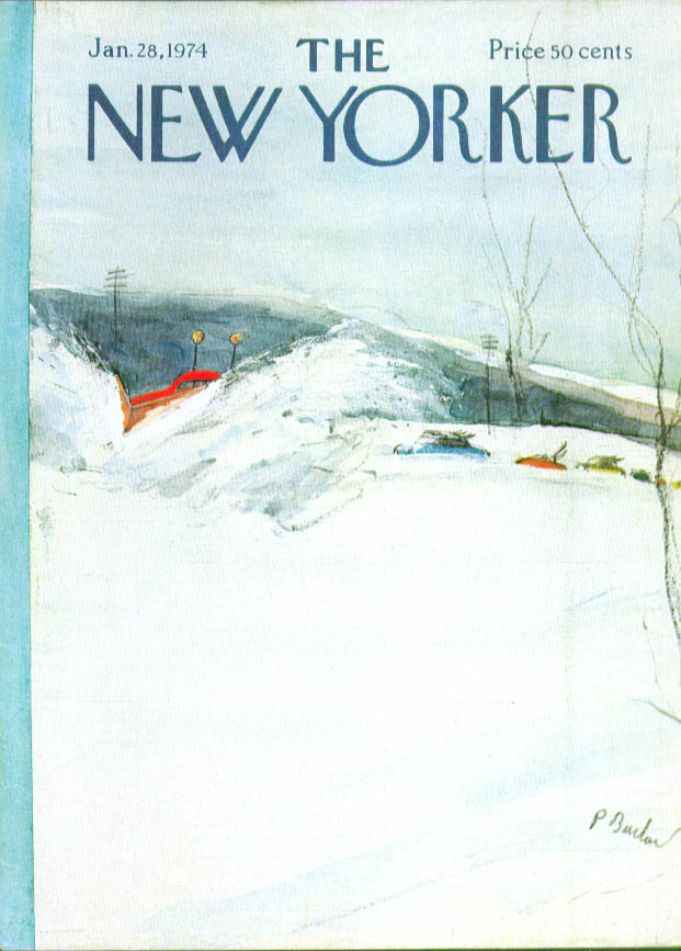 New Yorker cover Barlow plow leads skier cars 1/28 1974