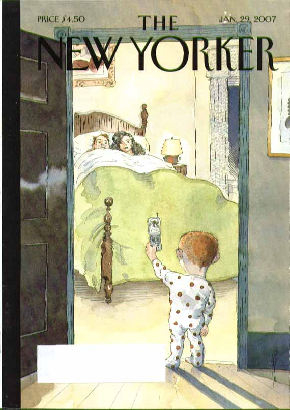 New Yorker cover Barry Blitt kid takes cellphone pic of parents in bed 1/29 2007
