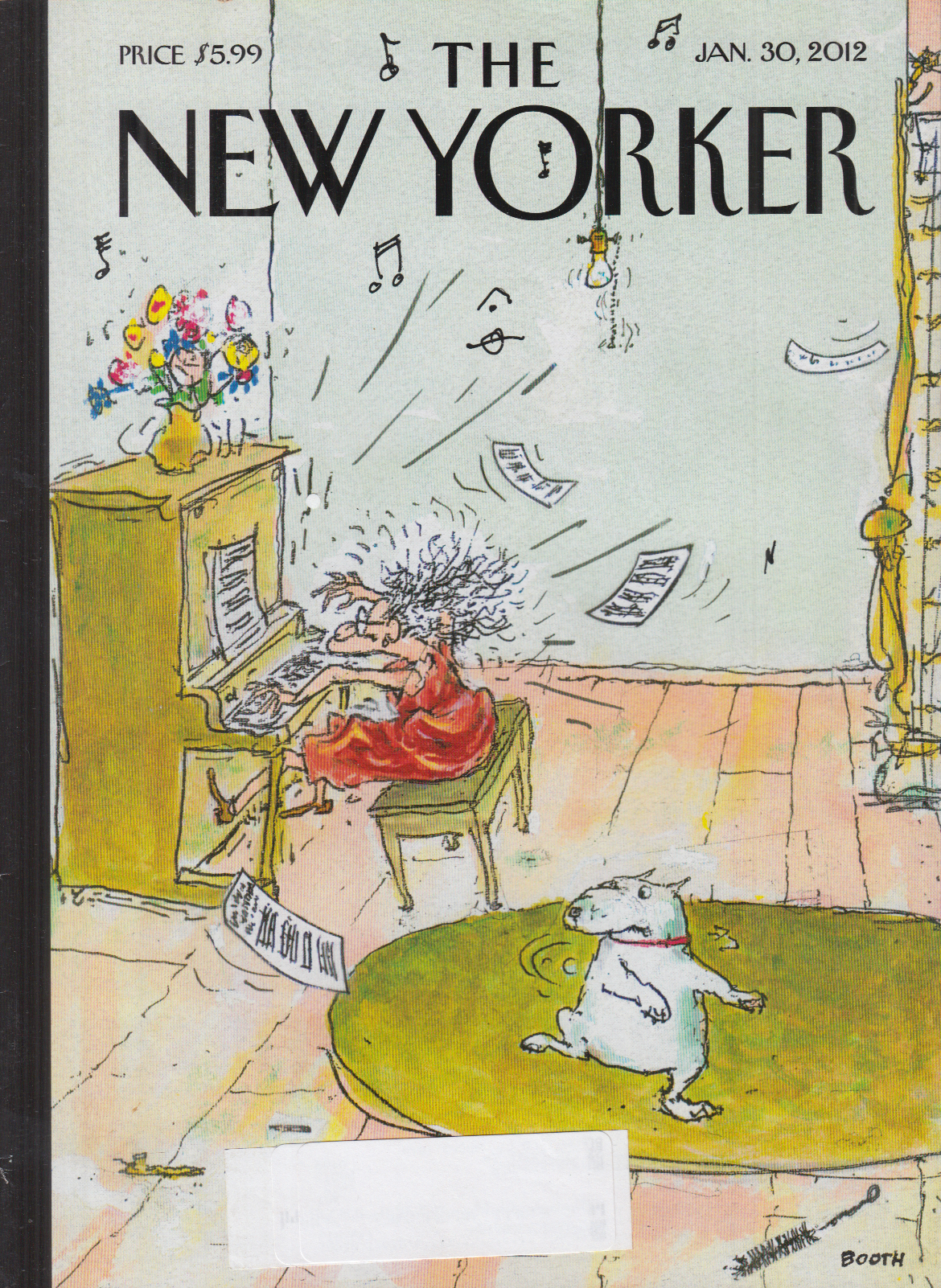 New Yorker cover Booth 1/30 2012 dog dances to frantic woman's piano solo