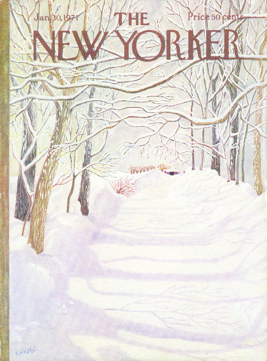 New Yorker cover Karasz snow-covered road before the plows come 1/30 1971