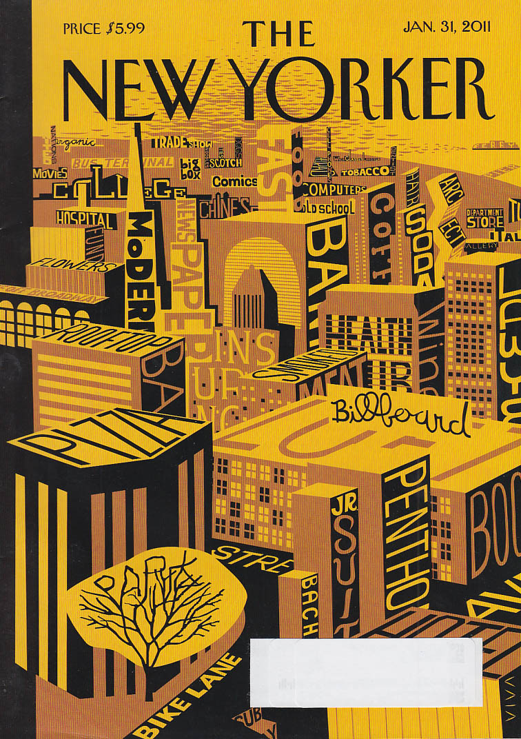 New Yorker cover 1/31 2011 Viva: all city elements with identifying signs