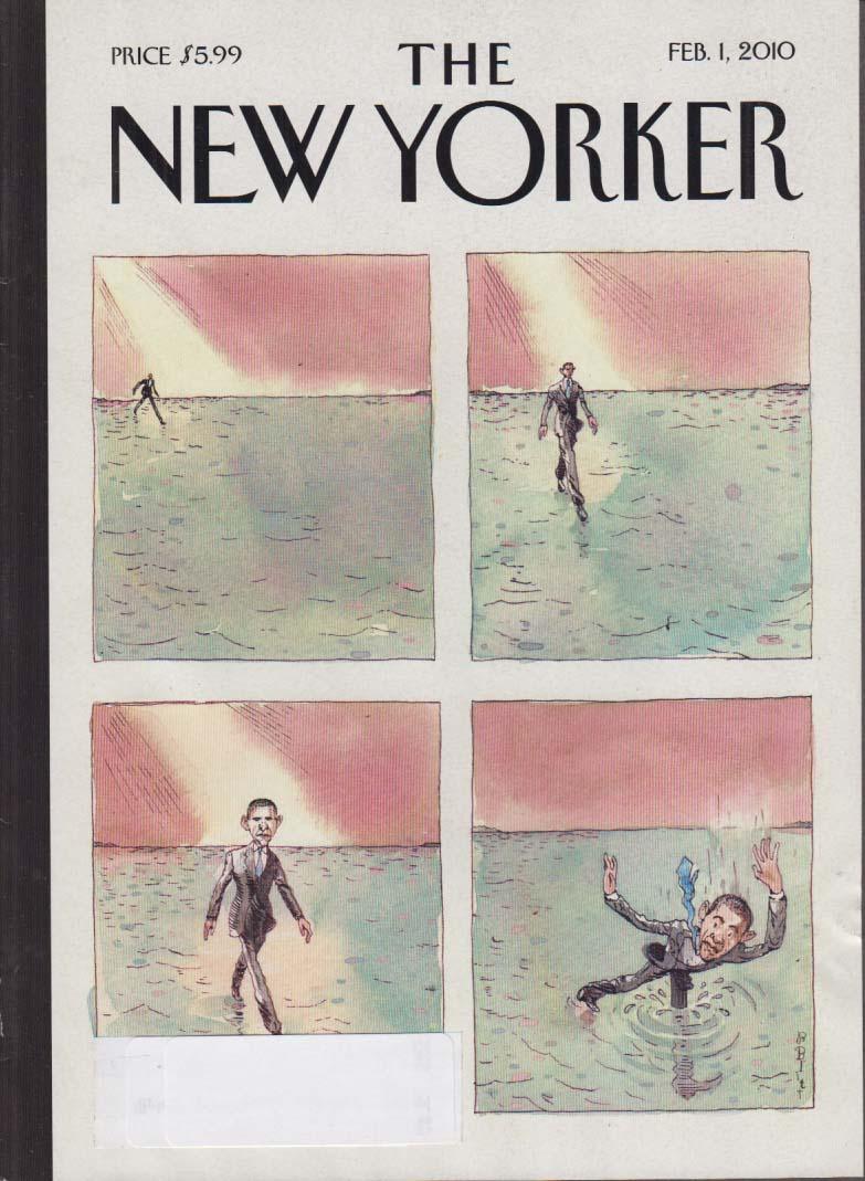 New Yorker cover Barry Blitt Barack Obama walks on water; goes under 2/1 2010