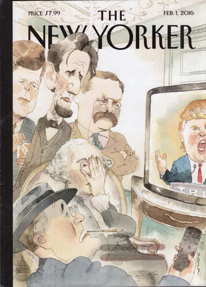 New Yorker cover Blitt 2/1 2016 Former presidents scowl at Trump on TV