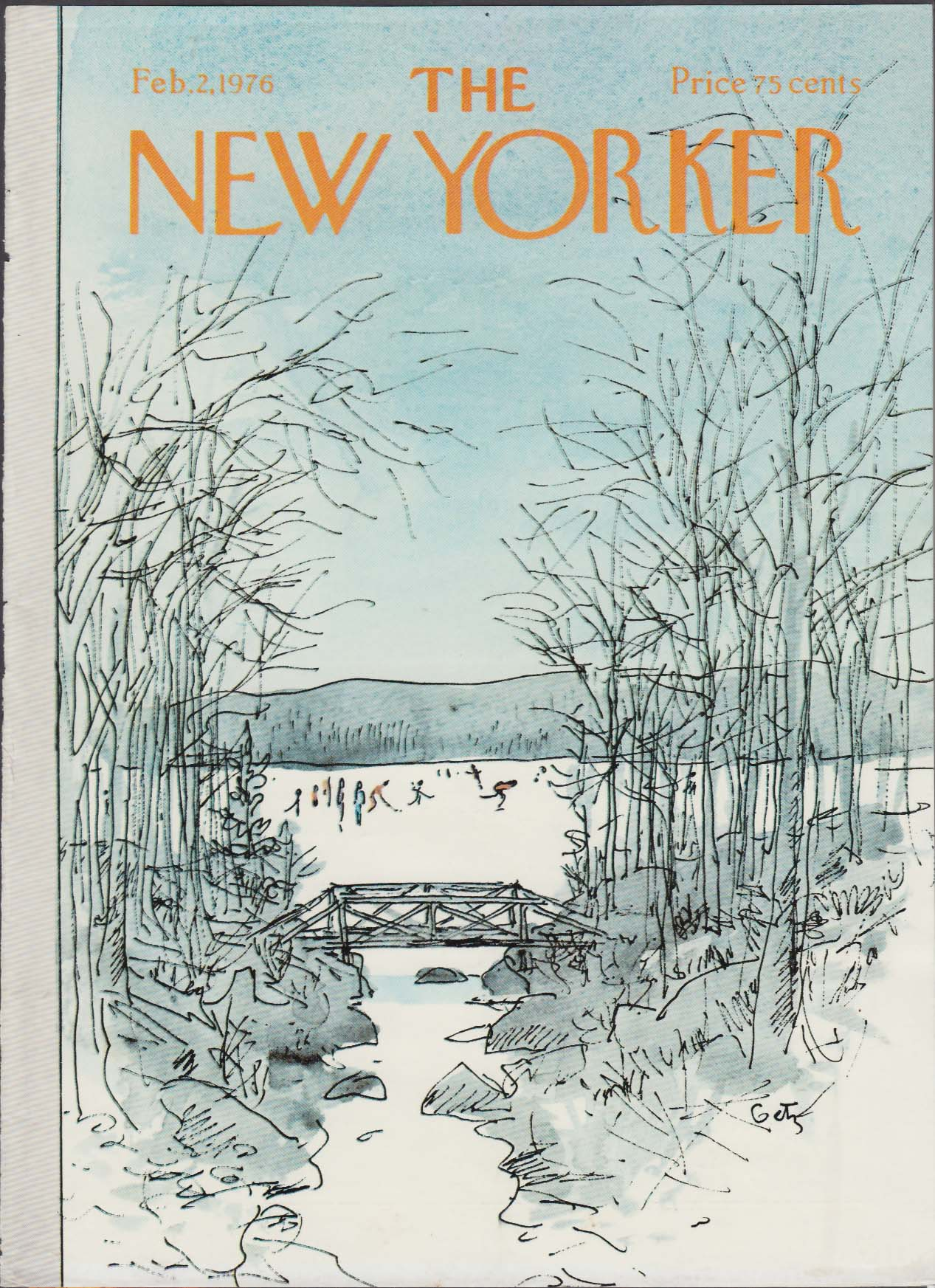 New Yorker cover Getz ice skaters on lake 2/2 1976