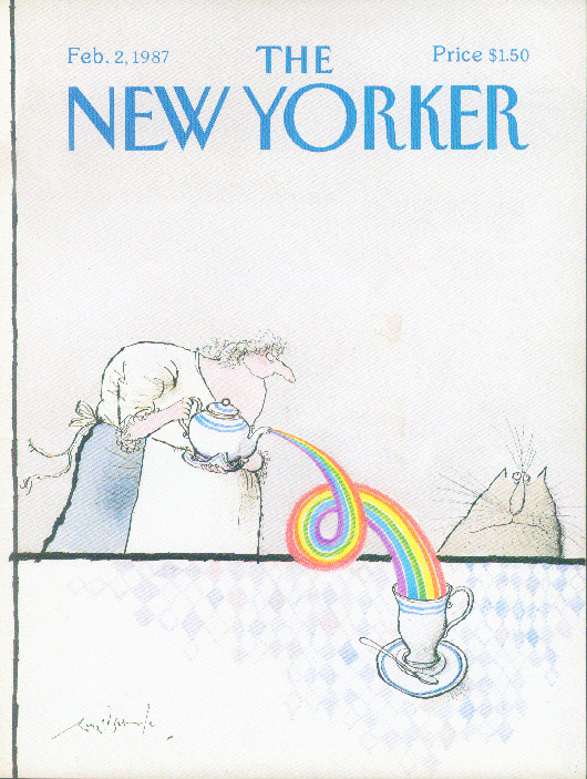 Image for New Yorker cover Searle rainbow tea for cat 2/2 1987