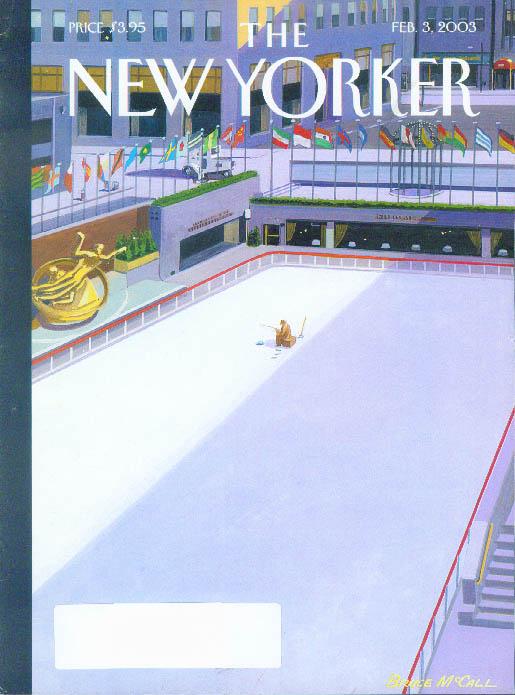 New Yorker cover Bruce McCall ice fishing in Rockefeller Center rink 2/3 2003