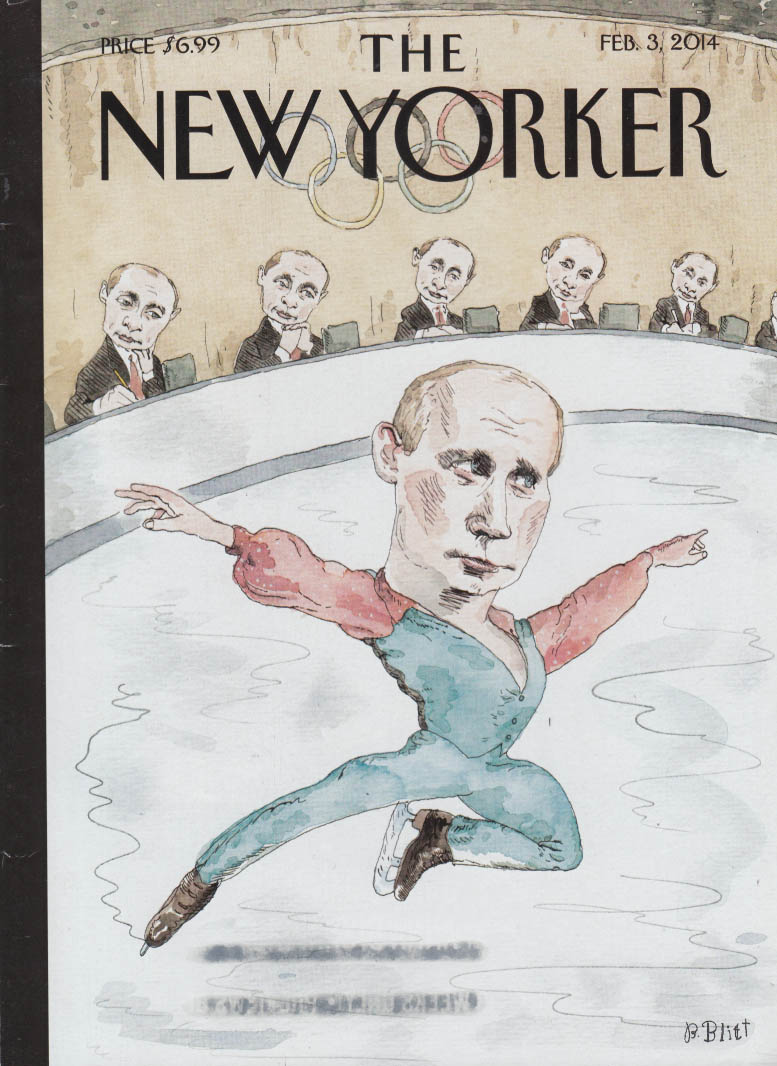 New Yorker cover 2/3 2014 Putin iceskating before panel of Putins