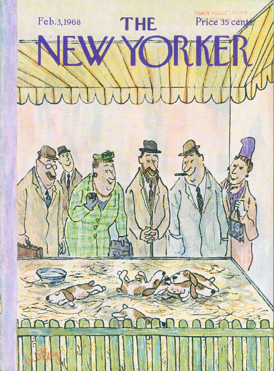 New Yorker cover Steig people puppies petshop 2/3 1968