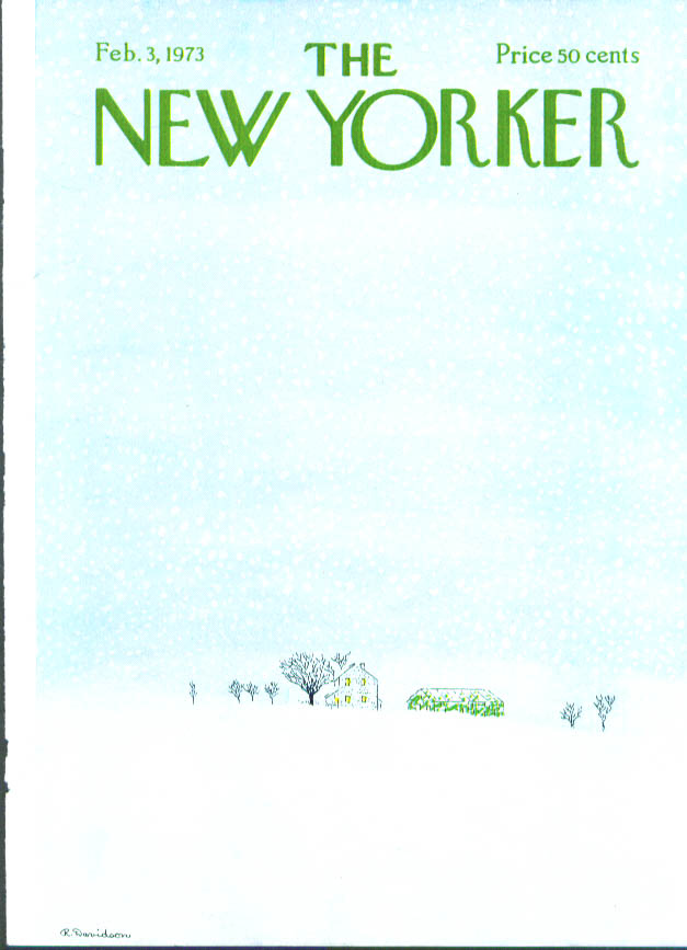 New Yorker cover Davidson house in a blizzard 2/3 1973