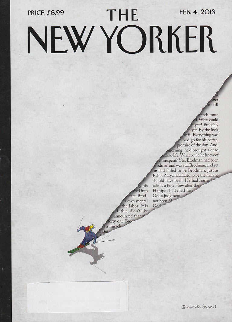 New Yorker cover 2/4 2013 Schossow: skier cuts through snow to text