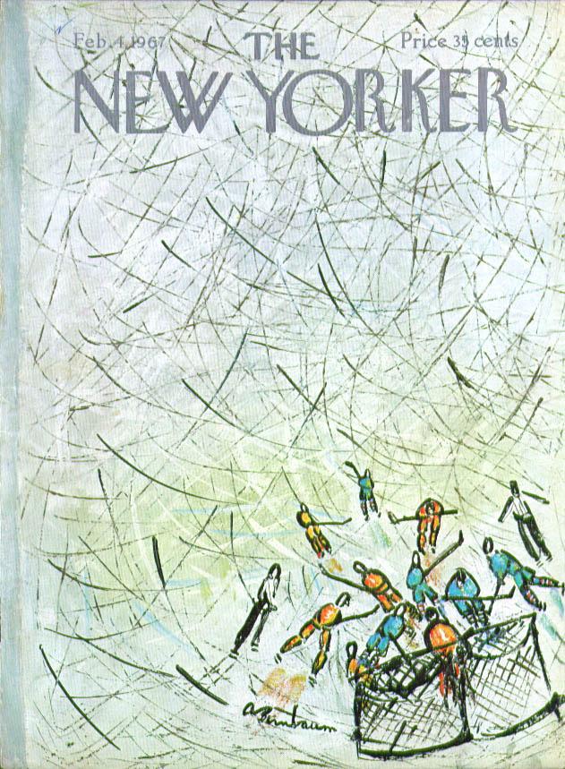 New Yorker cover Birnbaum ice hockey net rush 2/4 1967