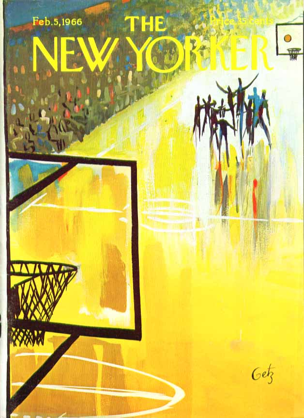 New Yorker cover Getz basketball game 2/5 1966