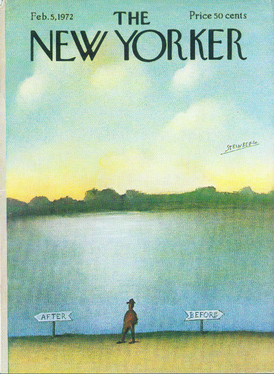 New Yorker cover Steinberg before to after man 2/5 1972