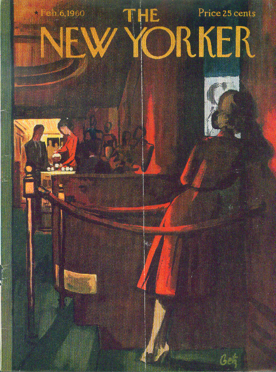 New Yorker cover Getz movie theater usher 2/6 1960