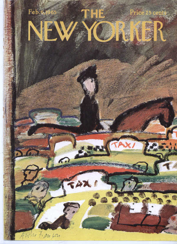 Image for New Yorker cover François horseback cop taxis 2/6 1965