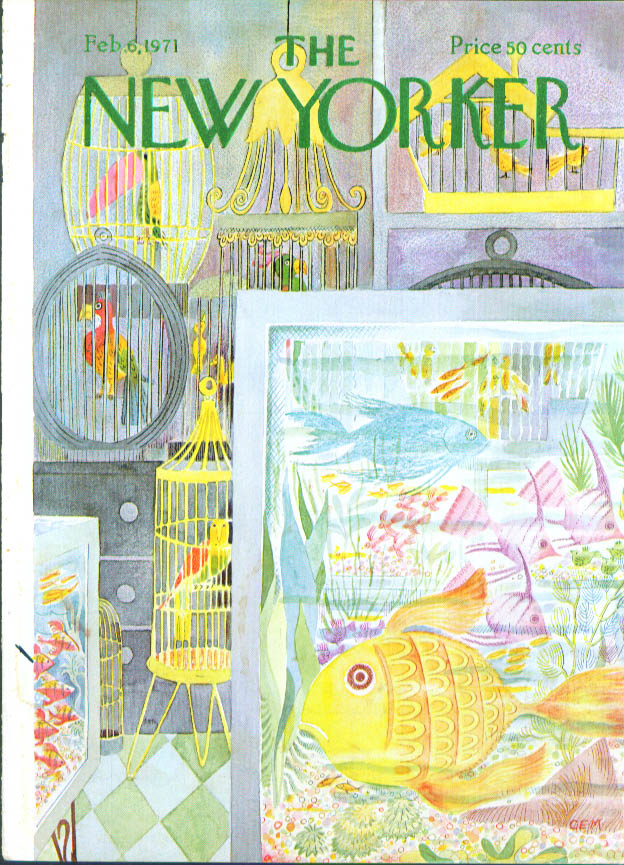 New Yorker cover Martin colorful pet shop 2/6 1971