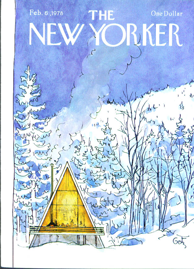 New Yorker cover Getz A-frame in snowy woods 2/6 1978