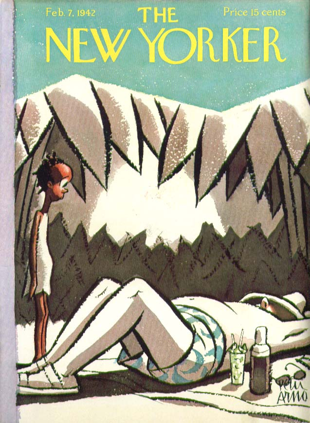 New Yorker cover Arno native child & white man 2/7 1942