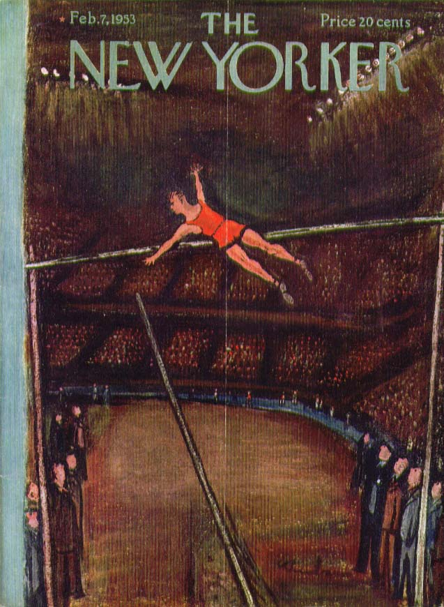 New Yorker cover Birnbaum indoor polevault 2/7 1953