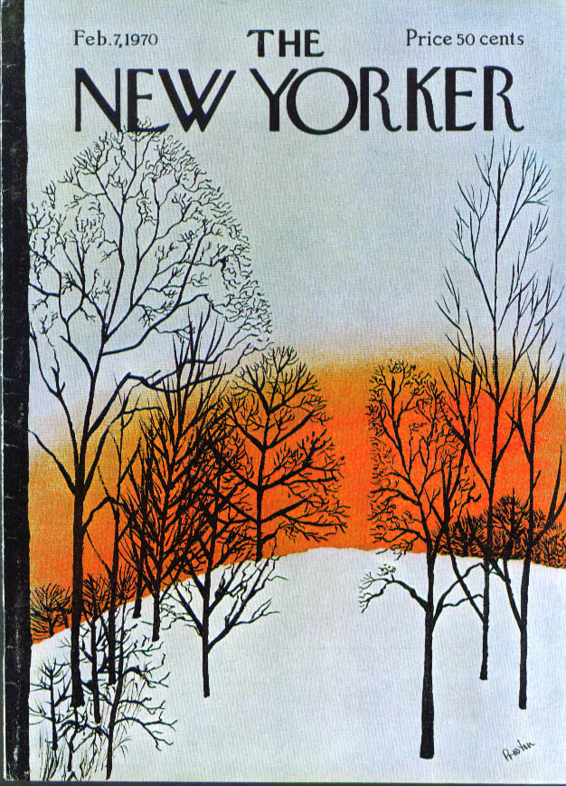 New Yorker cover Preston orange sunset trees 2/7 1970
