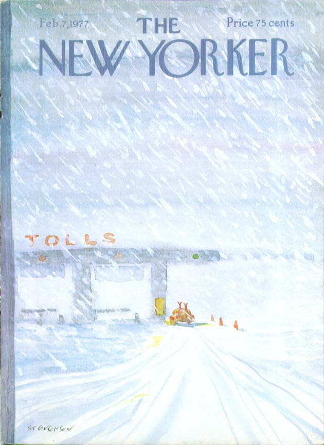 New Yorker cover Stevenson skiers at tollbooth 2/7 1977
