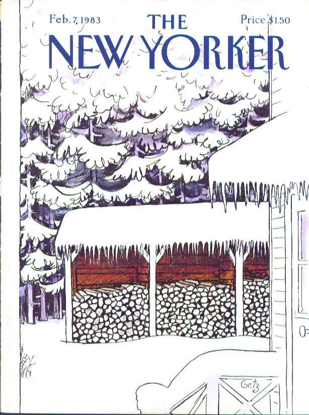 New Yorker cover Getz firewood under ice 2/7 1983