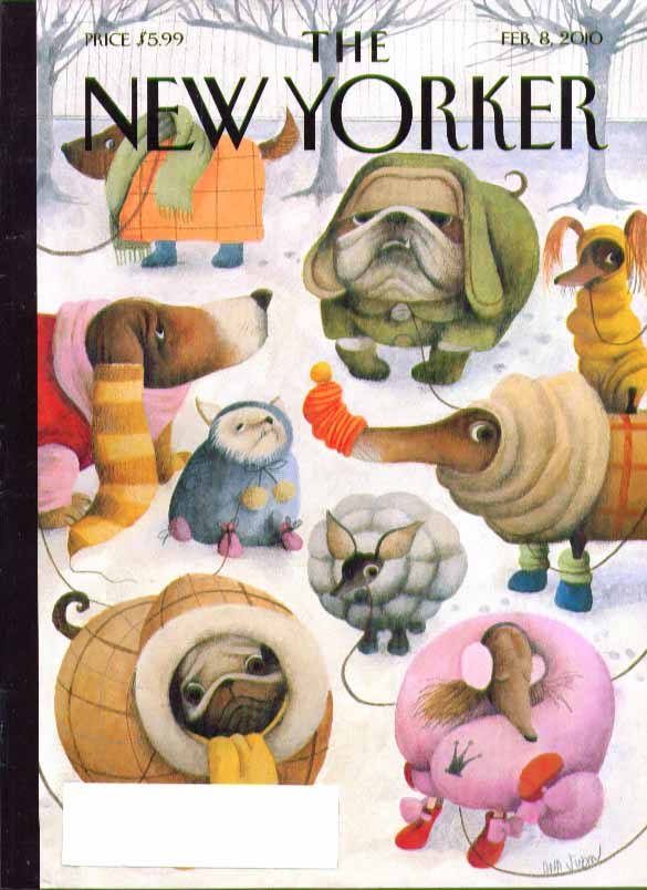 New Yorker cover 2/8/2010 Juan: assorted dogs in winter outfits in park