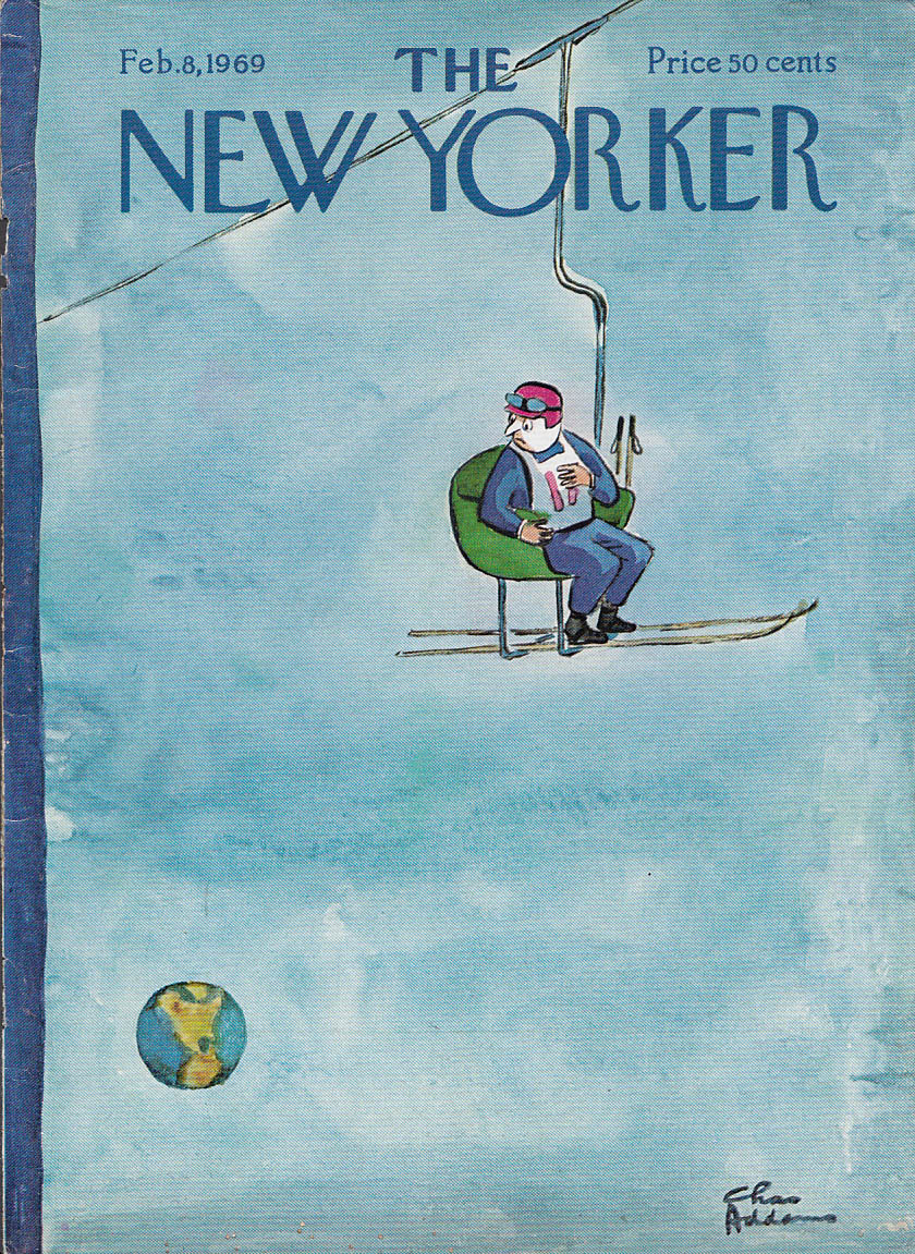 New Yorker cover Addams skilift in Earth orbit 2/8 1969