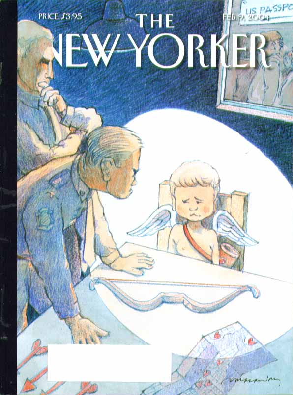 New Yorker cover Adrian Tomine cops interrogate Cupid with bow & arrow 2/9 2004