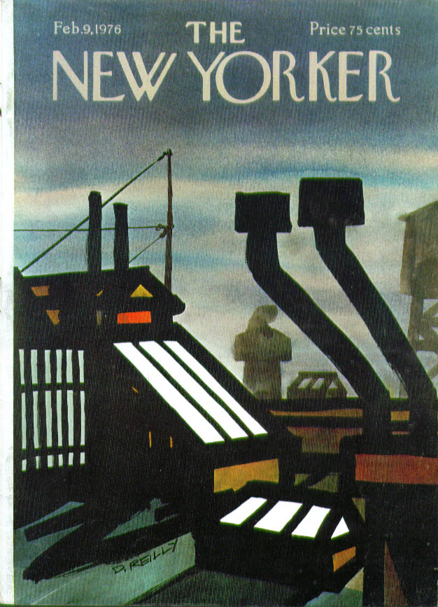 New Yorker cover Reilly rooftop machines 2/9 1976