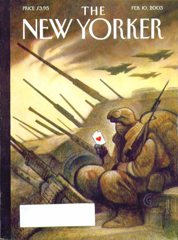 New Yorker cover Carter Goodrich GI in Iraq gets Valentine from home 2/10 2003