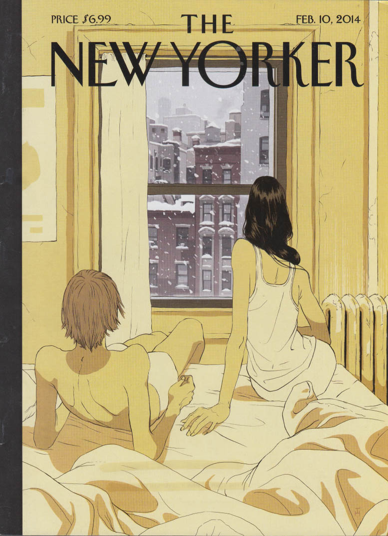 New Yorker cover 2/10 2014 Hanuka: Perfect snowstorm seen from warm room