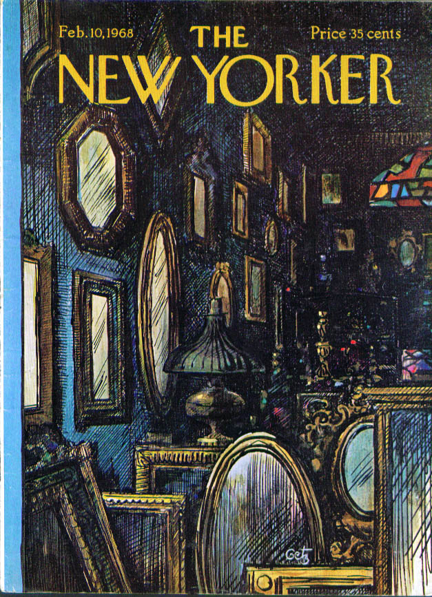 New Yorker cover Getz antique shop frames 2/10 1968