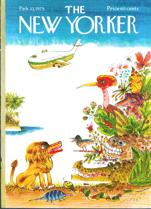 New Yorker cover Low jet to jungle beasts 2/10 1975