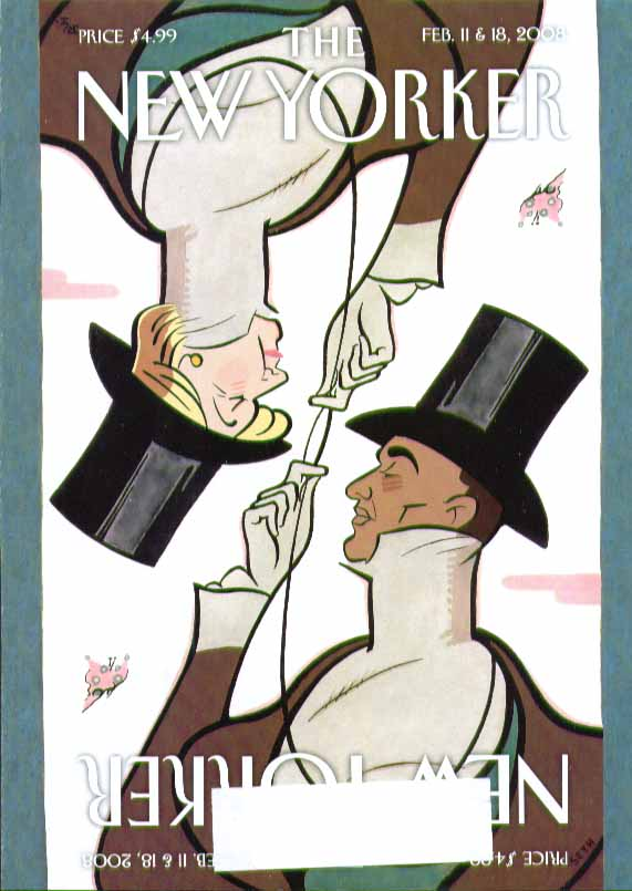 Image for New Yorker cover Seth Hillary & Barack as Eustace Tilley 2/11 & 2/18 2008