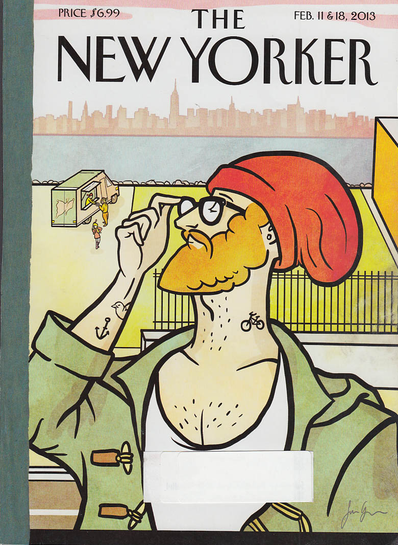 New Yorker cover 2/11 2/18 2013 Greiner: stevedore with bicycle tattoo & red cap