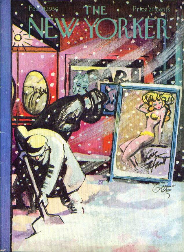 New Yorker cover Getz girly bar in blizzard 2/11 1950