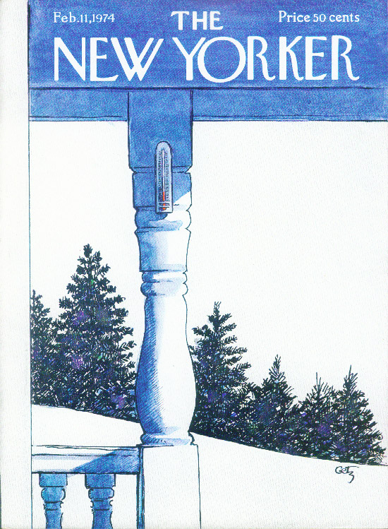 New Yorker cover Getz plunging thermometer 2/11 1974