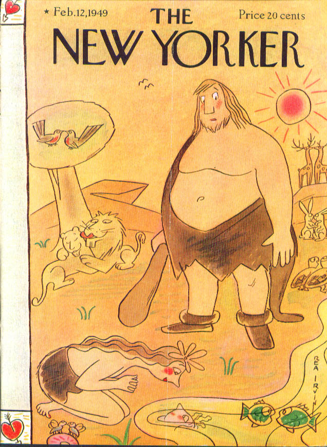 New Yorker cover Irvin cave man 1st Valentine 2/12 1949