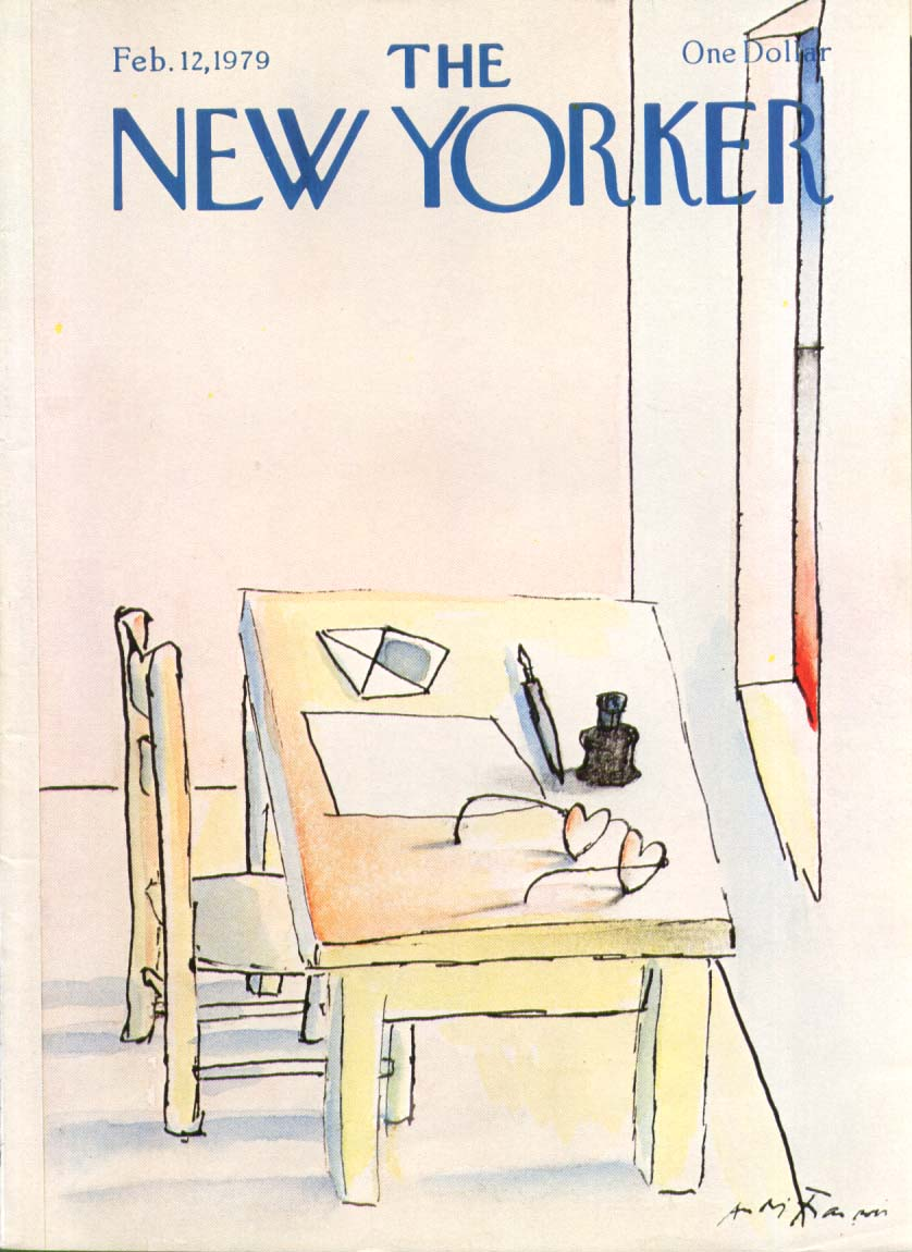 New Yorker cover Francois heart glasses desk 2/12 1979