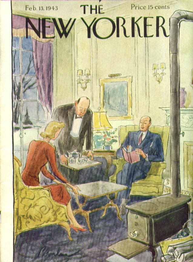 New Yorker cover Barlow butler serves tea 2/13 1943