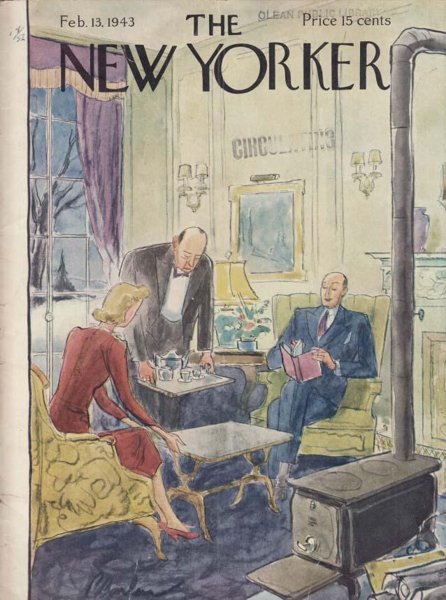 New Yorker cover Barlow butler serves tea 2/13 1943