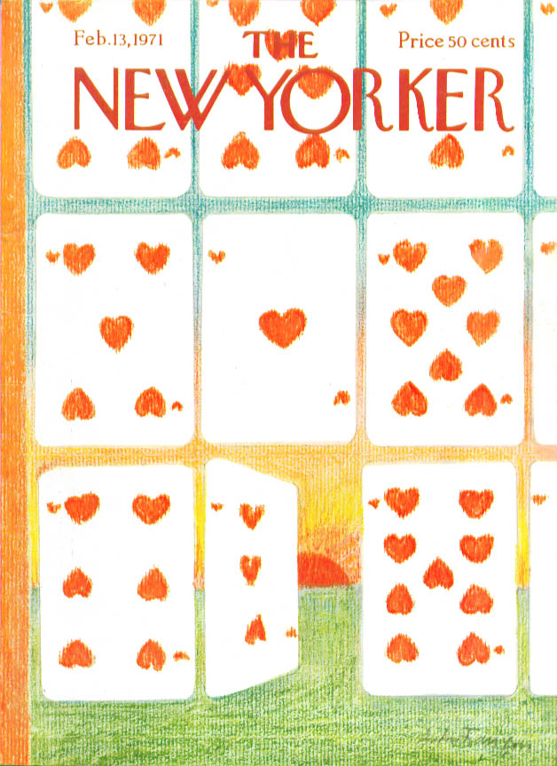 New Yorker cover Francois playing card hearts 2/13 1971