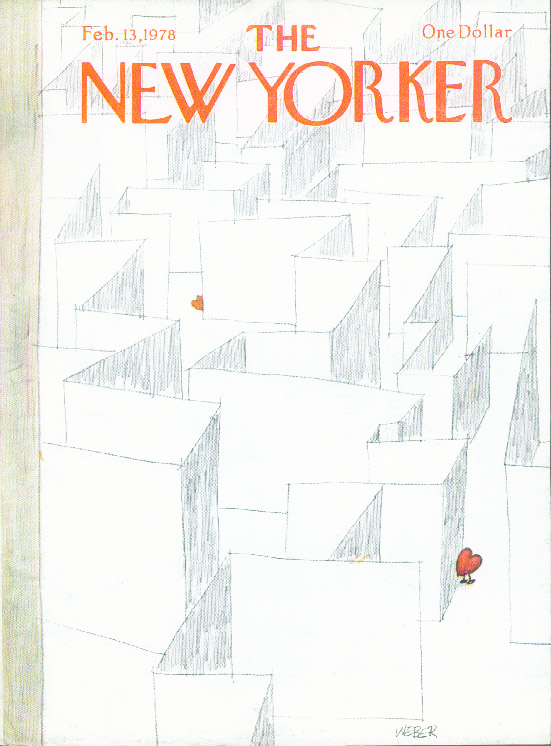 New Yorker cover Weber lost hearts in maze 2/13 1978
