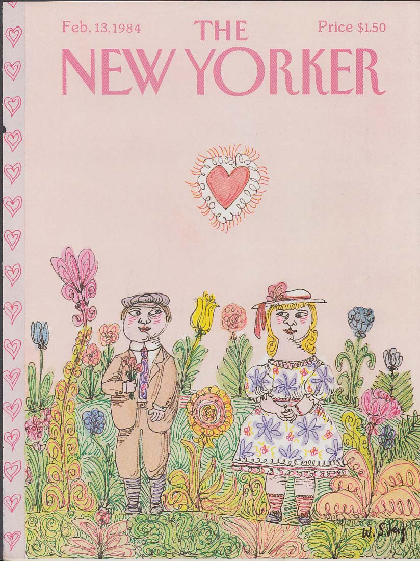New Yorker cover 2/13 1984 William Steig Boy & Girl in flower garden Valentine