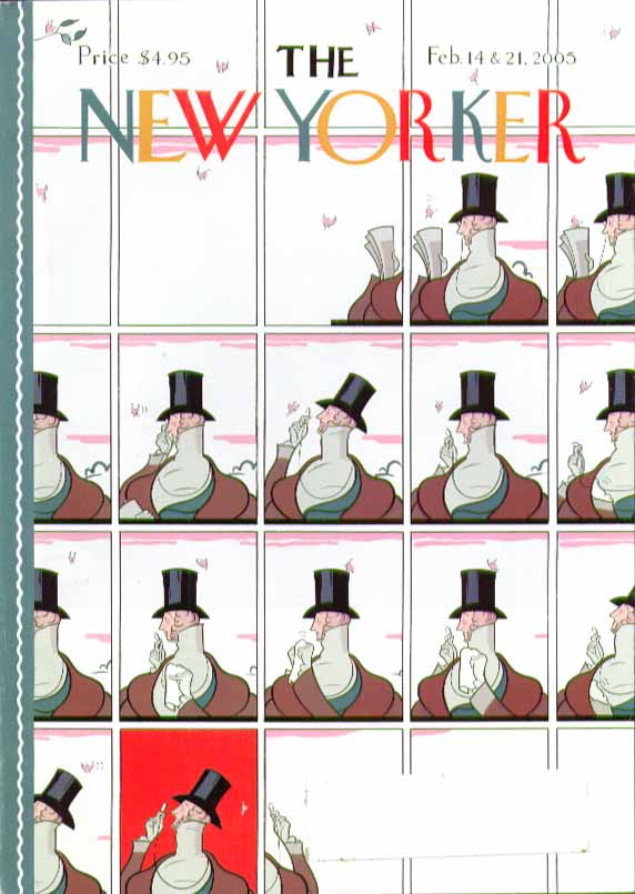 New Yorker cover Rea Irvin motif Eustace Tilley variants 2/14 & 2/21 2005